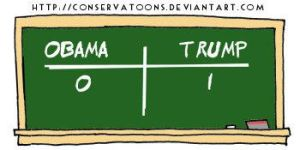 Trump 1 - Obama 0 by Conservatoons