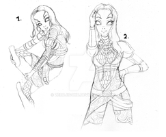Commissioned: Tali Sketches by ZeroJigoku
