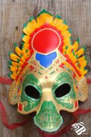 Quetzalcoatl, The Feathered Serpent - Leather Mask by b3designsllc