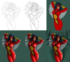 Spider-Woman - Process by Almayer