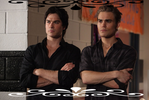 Stefan and Damon Salvatore by Clare-Sparda