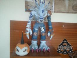 Digimon Tsunomon & WereGarurumon Papercraft by HellswordPapercraft
