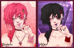 Pink Cute Boy - Black Emo Boy :3 by Ereni-chan