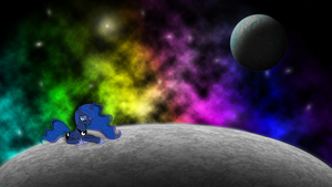 Sad Luna on the moon wallpaper by JamesG2498