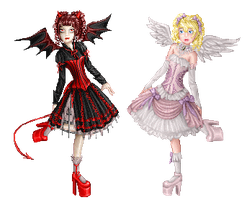 Angel+devil lolis by Bitterkawaii