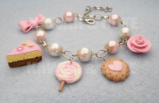 Bracelet with pink sweets and candys by KawaiiAndCute