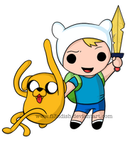 Chibi Finn and Jake by Fi3ndish