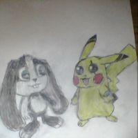 (Scraps) Chad the Pikachu meets Schnuffel by Conkerluver