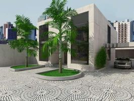 Exterior Front side House by HAWF