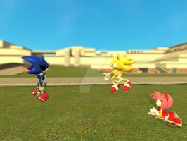 Super sonic Vs Metal Sonic by Sonamyfan3000