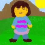 Bad Art Crayonized - Undertale's Frisk by Xyless