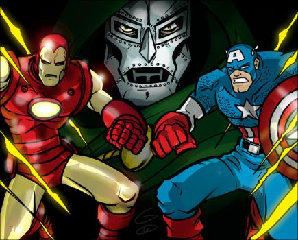 Doom and the Avengers by grantgoboom