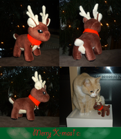 Tiny X-MAS reindeer plush c: by goiku