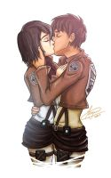Mikasa and Eren by crimson-firelight