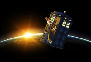 10th Doctor in the Tardis by CPD-91