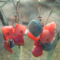 Pink and Blue Earrings by MuffinSquee