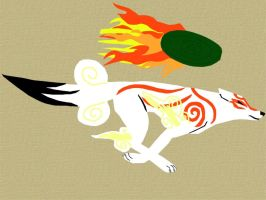 non-outline styled Okami by WingedWolfGirl