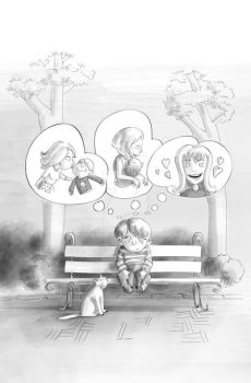 kid is thinking at the park by tanzoo