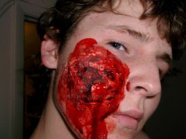 Zombie FX face wound by peacekid4