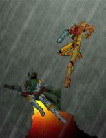 Samus vs Fett by Kid-With-The-Hat