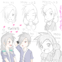 Twins Miyu and Makoto by aninhachanhp