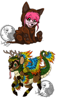 Aztec Chibis by PinkScooby54