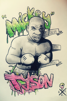 Mike Tyson with Mickey's gloves by JLManzano