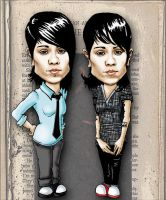 Tegan and Sara Cartoon by MrsDoodldidldei
