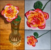 Orange and Pink Beaded Rose by Natalie526