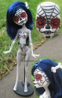 OOAK Monster High Repaint Sugar Skull Skeleton by Lassarina-Jewelry