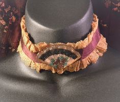 Ochere and Burgundy Lace Choker w/ Handpainted Fan by MorganCrone