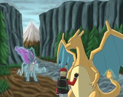 Commission: Meeting Suicune by eclipse4d