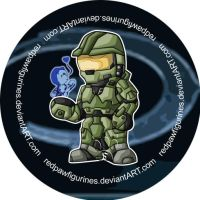 Master Chief and Cortana Badge by RedPawDesigns