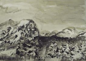 Detailed Mountains with forest by Anna-Maija