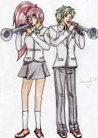 Gail and Kazuki play the trumpet (comm.) by Kassandra-21