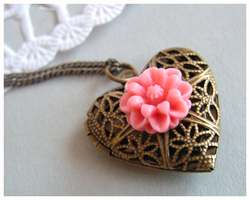 antique flower heart locket by Leviana