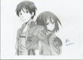 Eren and Mikasa by StrawberriNinja