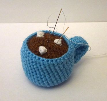 Chocolate cup pincushion by sully78