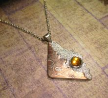 Mokume gane Copper and Sterling Pendant Fire Opal by Utinni