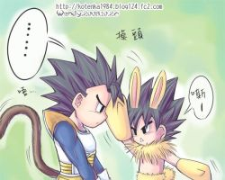 table and vegeta rabbit by kotenka1984