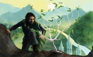 Aragorn and the White Tree by HazelFibonacci