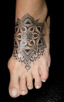 foot tattoo by alphatattoo