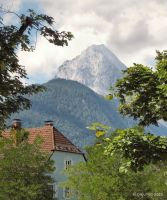 Trees, house and mountains by Pajunen