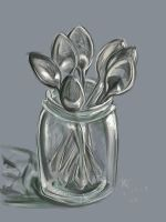 spoons in a jar sketch by nikkidreamer