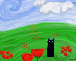 Abstract Charl in Poppies by JMPorter