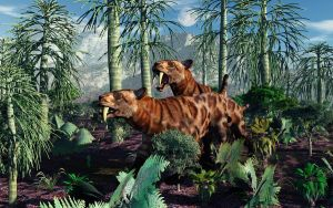 Sabre Toothed Tigers Hunting. by MasPix