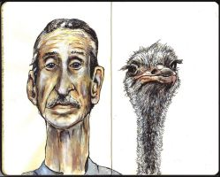 Sketchbook - one man and his ostrich by keiross