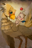Chocobo and moogle love by hinoraito