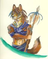 Anthro Wolf with Spear by elsarose