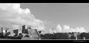 Mayan Ruins in Black and White by picworth1000wrds